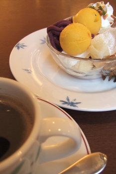 紫芋とかぼちゃのミニパルフェ FinePixF10 1/75 F2.8 8mm ISO200