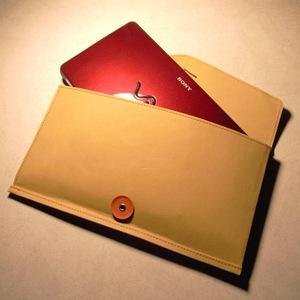 無印良品 ジーンズのラベル素材で作った丸留め付き封筒・小 × VAIO P