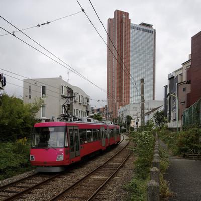 東急世田谷線とキャロットタワー